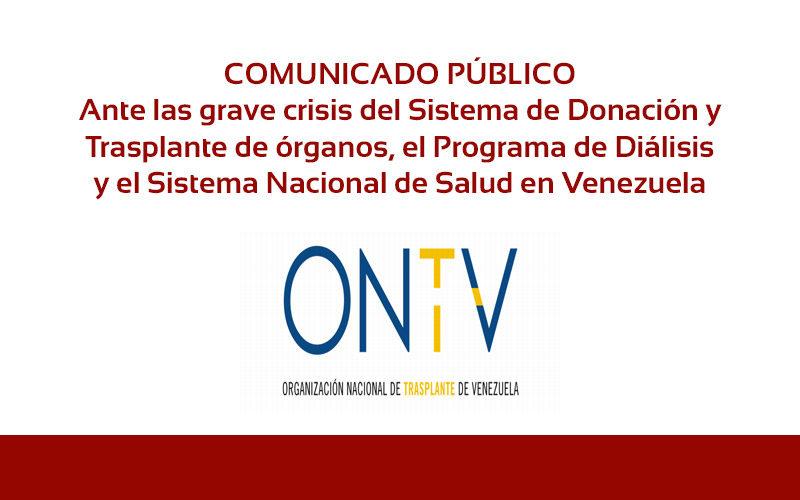 Comunicado Organización Nacional de Trasplante de Venezuela ONTV
